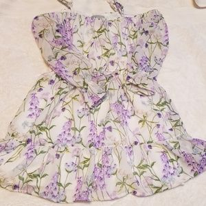 Nwot Sheer white and purple open shoulder